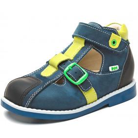 Туфли (сандали закрытые) синие нубук